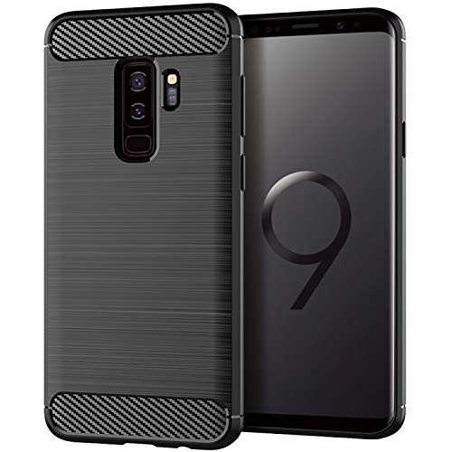 Carbon Fiber Galaxy - Actionpie Case Compatible with Samsung Galaxy S9 Plus Case (2018) with Carbon Fiber Brushed Silicone -Black