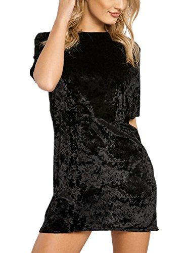 HIKARE Women's Vintage Crushed Velvet Short Sleeve T Shirt Mini Dress
