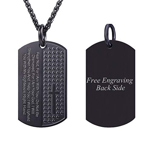 - U7 Men Cross Dog Tag Necklace & Chain Bible Isaiah 41:10 Pray Words Engraved Inspirational Pendant, Free Message Engrave Back Side (Black - Personalized, 24)