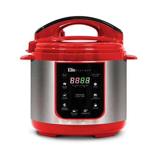Elite Platinum EPC-414R Maxi-Matic 4 Quart Electric Pressure Cooker, Red (Stainless Steel)
