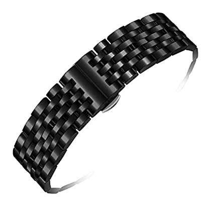 Black Metal Watch Strap 20mm Luxury Solid Stainless Steel with Removable Links and Deployment Clasp