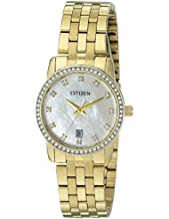Citizen Womens Quartz Stainless Steel Crystal Accented Watch with Date, EU6032-51D