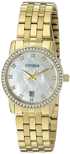 tz Stainless Steel Crystal Accented Watch with Date, EU6032-51D ()