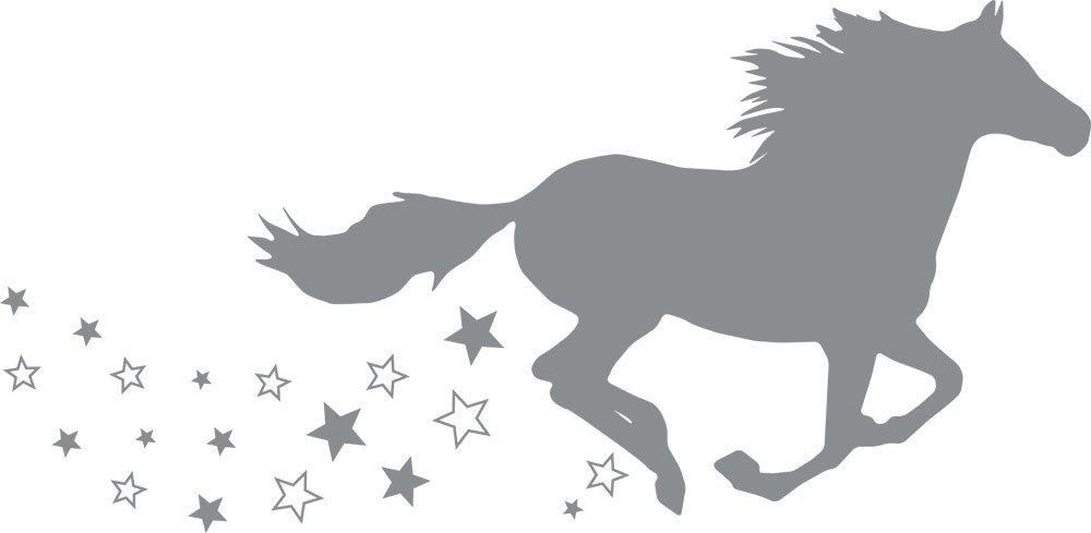 GRAZDesign 300053_57_WT010 Wandtattoo Wandaufkleber Tattoo für Mädchenzimmer Mädchenzimmer Mädchenzimmer Pferd galoppieren Sterne (116x57cm    010 Weiss) B01F1U8ZXW Wandtattoos & Wandbilder 7100c0