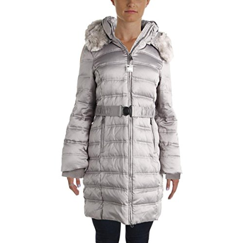 DKNY Womens Down Faux Fur Parka Silver - Coats Down Dkny