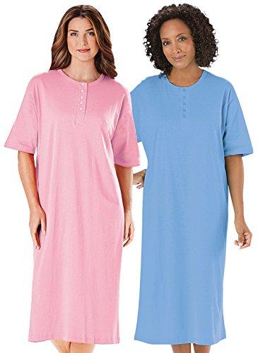 Henley Nightshirts Set of 2, Pink/Blue, Size Sizes 1X-3X