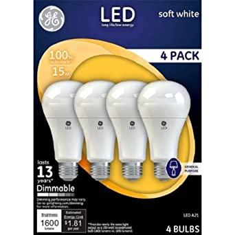 GE LED Lighting 100w A21 Dimmable Soft White (4-Pack)  sc 1 st  Amazon.com & GE LED Lighting 100w A21 Dimmable Soft White (4-Pack) - - Amazon.com