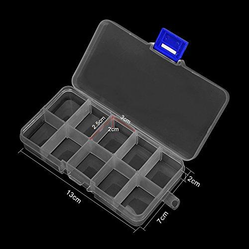 AIMEI Jewelry Organizer,Plastic Jewelry Box/4 pack Organizer Storage Container with Adjustable Dividers(1pc 36 Grids/2pcs 15 Grids/1pc10 Grids) by AIMEI (Image #6)