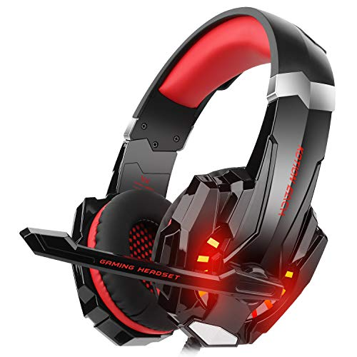 DIZA100 Kotion Each G9000 Gaming Headset Headphone 3.5mm Stereo Jack with Mic LED Light for New Xbox One/PS4/Tablet/Laptop/Cell Phone-Black&Red