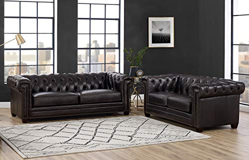Hydeline Fairmont 100% Full Top Grain Waxy Leather Sofa Set, Black (Sofa, Loveseat) (Top Full Grain Leather Sofa)