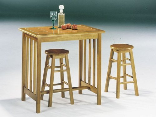 Acme Furniture Mission Oak Terra Cotta 3Pc Breakfast Tile Top Bar Set
