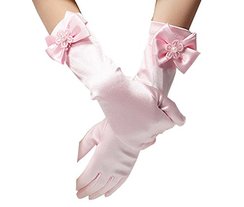 Fankeshi Long Pearl Satin Gloves for Flower Girls Princess Pageant Party Gloves for Wedding Pink M