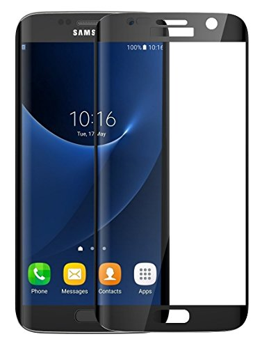 Josi Minea [ Samsung Galaxy S7 ] Curved 3D Tempered Glass Screen Protector with Full Coverage Crystal Clear Ballistic LCD Screen Guard Cover Premium HD Shield for Samsung Galaxy S7 – Black