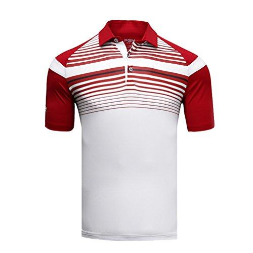 Kayiyasu ポロシャツ メンズ ゴルフウェア UVカット ゴルフシャツ オシャレ スポーツシャツ 男性用 半袖 Tシャツ 運動着 日焼け止め 021-xsty-yf123(M レッド)