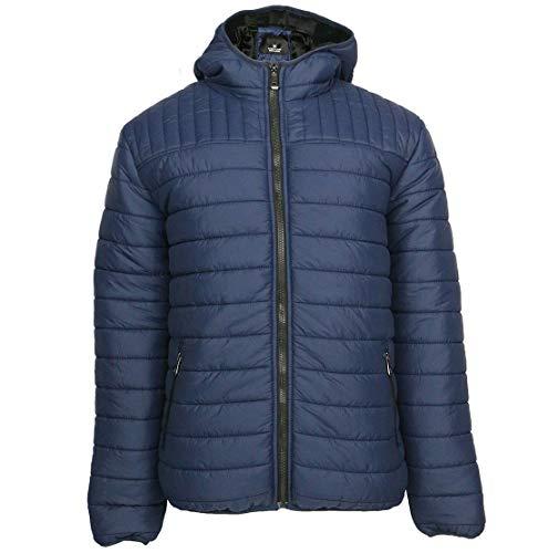 - Gary Com Mens Hooded Puffer Fleece Jacket Lightweight Packable Winter Full Zip Down Outwear Navy