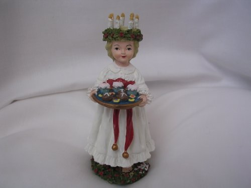 Santa Lucia Swedish Christmas Doll Figurine 4.5 Sweden Collectible International Santa Claus Collection Home Decor