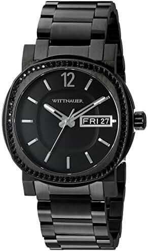 Wittnauer Mens WN3050 22mm Stainless Steel Black Watch Bracelet