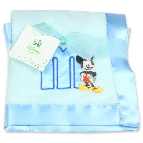 Appliqued Bedding Sherpa Baby Blanket - Disney Mickey Mouse Plush Satin Trim Baby Blanket, Blue