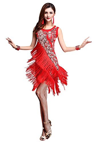 Z&X Dancewear Women 1920s Gatsby Sequin Embellished Fringed
