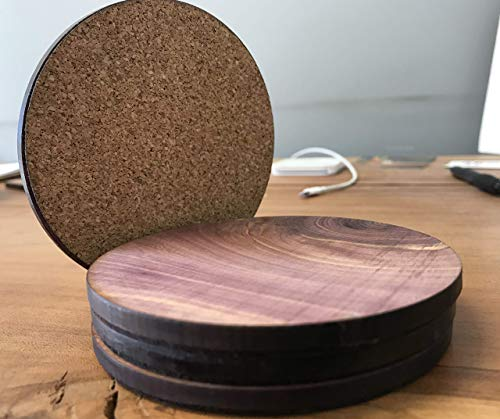 Wood Coasters Round 4 pack Red Cedar with cork backing
