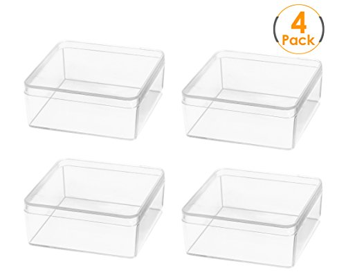 MoorePremium Candy Box Set -4 x Large Square Clear Plastic B