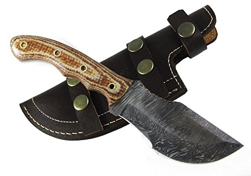 Moorhaus-Handmade-Firestorm-Damascus-G10-TanBrown-Micarta-Tracker-Knife-With-Leather-Sheath