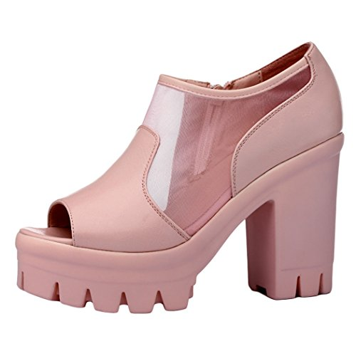 Guciheaven 2015 New Style Fashion Waterproof Shoes Thick Crust Thick High-heeled Shoes(5.5 B(M)US, Pink)