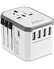 International Power Adapter,Universal Adapter Plug Power Adapter All in One AC Plug Adapter with 5.6A 4 USB Ports, 3.0A Type C Travel Adapter USA UK AUS Europe Cell Phone Laptop(White)