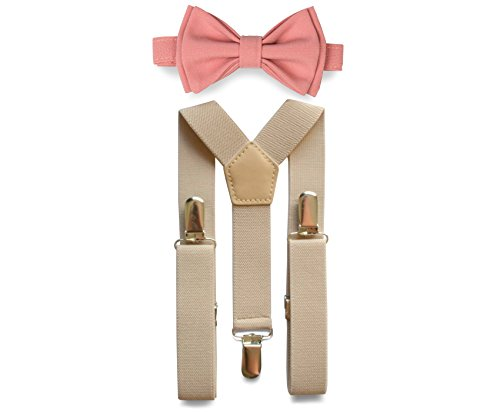 Tan Suspenders & Bow Tie Set for Baby