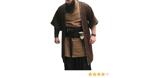 Mens Medieval Costume Open Front Cardigan Templar Knight Warrior Cloak Robe Cape Coat Halloween Retro Cosplay