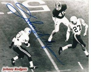Johnny Rodgers Photograph - Signed Johnny Rodgers Picture - BW 8x10 Heisman) (blue sig) - Autographed College Photos
