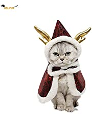 Delifur Cat Christmas Cloak with Dragon Horn Hat Christmas Santa Costume for Small Cats Dogs (Red)