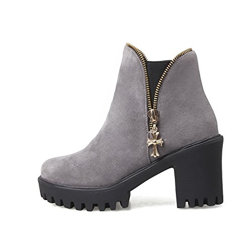 Closed Toe Round Frosted Low Women's On Allhqfashion Heels High Boots Pull Gray Top vwRqBS