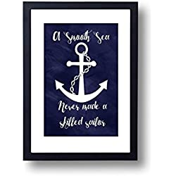 Nautical Art Print A Smooth Sea Never Made A Skilled Sailor, Inspirational Wall Art, Home Decor, Modern Typography Quote - Print only