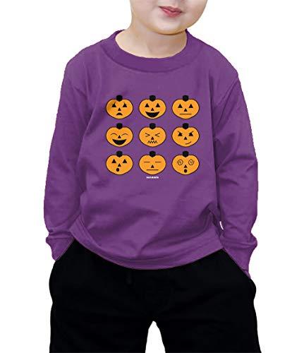 Halloween Pumpkin Icons Long Sleeve Shirt (Purple, 3T) -
