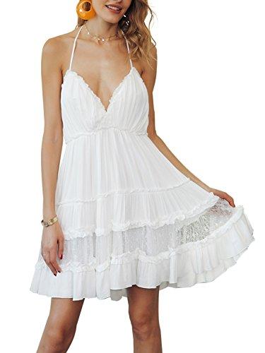 BerryGo Women's Sexy Backless Spaghetti Strappy Lace Mini Dress Beach Sundress White,L