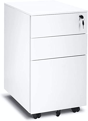 White Mobile Filing Cabinet 3 Drawer File Cabinet with Lock Wheels Fully Assembled for Office Home White C