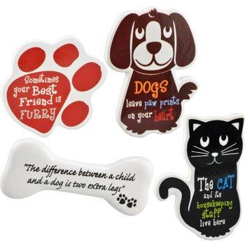 Juego de 4 imanes de frigorífico de perro y gato diseño de: Amazon.es: Hogar