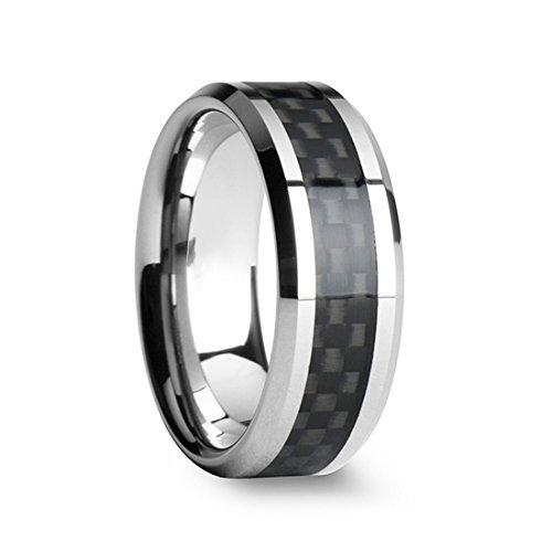 TIGRADE 8MM Men's Titanium Black Carbon Fiber Inlay Beveled Edges Ring Wedding Band Comfort Fit Size 5-15(13.5)