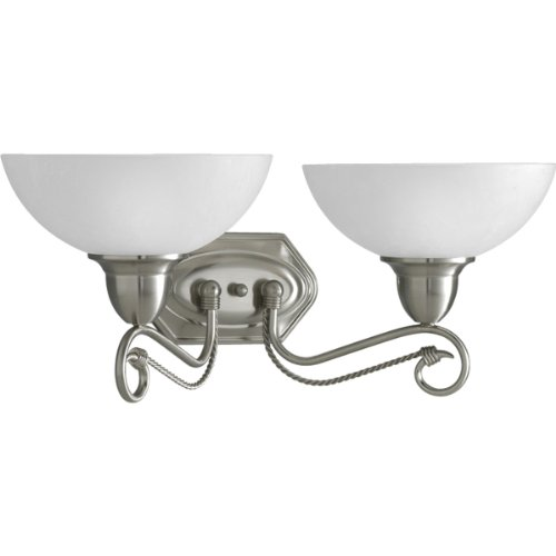 low-cost Progress Lighting P3270-09 2-Light Bath Bracket with Etched Watermark Glass and Twisted Wire Details, Brushed Nickel