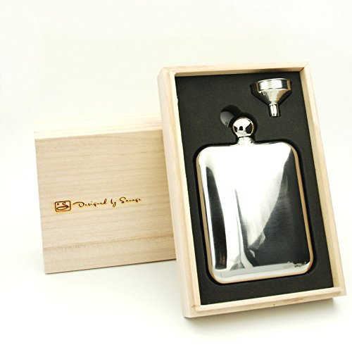 Savage-6oz-Flask-Gift-Set-188-Stainless-Steel-with-1pc-Mirror-Flask-1pc-Funnel-and-Wooden-Case