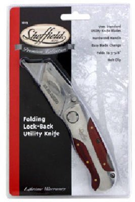 Great Neck Saw & Mfg 12115 Folding Lockback Utility Knife with Hardwood Handle