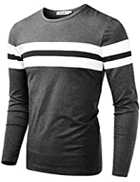 Men's Crew Neck Long Sleeve Contrast Color Casual Slim T-Shirt Top