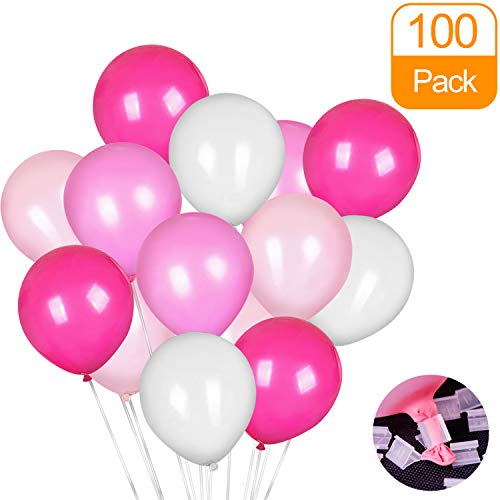 100 Pack Balloons and Balloon Clips, Latex Balloons, Balloons For Wedding Graduation Birthday Party Decoration Supplies - Rose, Light Pink, White and Pink For Romantic Series