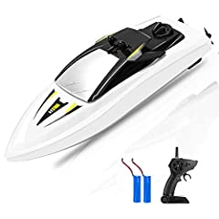 Mini RC boat with 2 x 3.6V 650mAh battery, 2.4GHz, 14km / h, remote distance 50M, waterproof hull, left / right throttle  Warm indication: 1. Make sure the top cover will settle down well before the boat starts, then lift it up, indicating it...