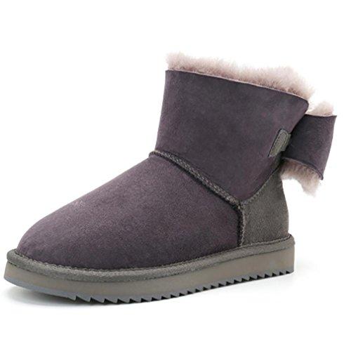Damen Leder gepolstert Winter Warm Bogen Mini Snow Boots(Eine Größe zu klein) 3