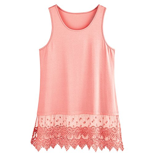 "Shop online Kaktus Sportswear Lace Trim Tunic Extender - Tank Crop Top Bottom Hem "" Long"