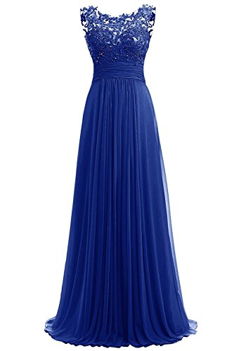 - PROMLINK Women's Beaded Chiffon Long Dresses for Gown Wedding Guest Royal Blue