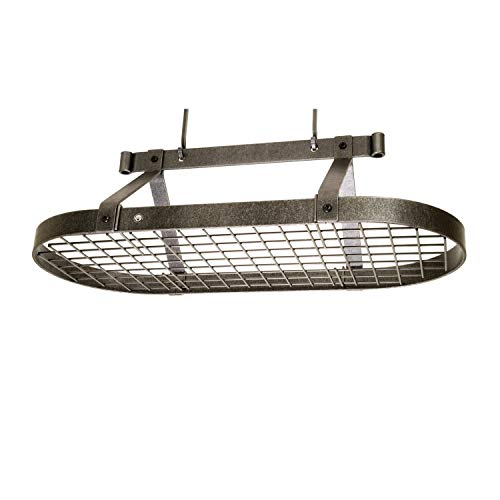 Enclume Premier 3-Foot Oval Ceiling Pot Rack, Hammered Steel