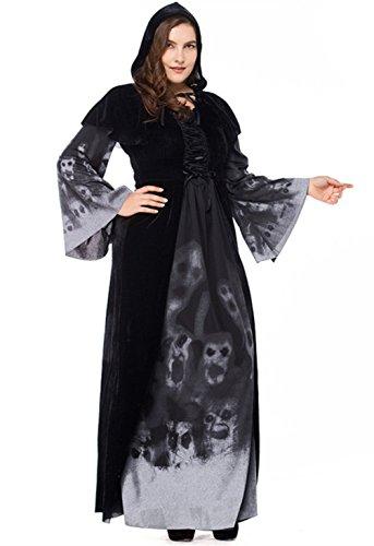 Le Diable Crâne Féminin Joygown À Capuchon Fête D'halloween Habiller Costume Costume